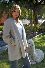 Mid Length Alpaca Coat with Shawl Collar for sale by Purely Alpaca
