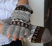 Deluxe Hand Knit Hooded Alpaca Gloves