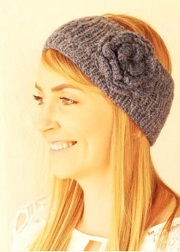 Alpaca Flower Knit Ear Warmer Head Band for sale by Purely Alpaca